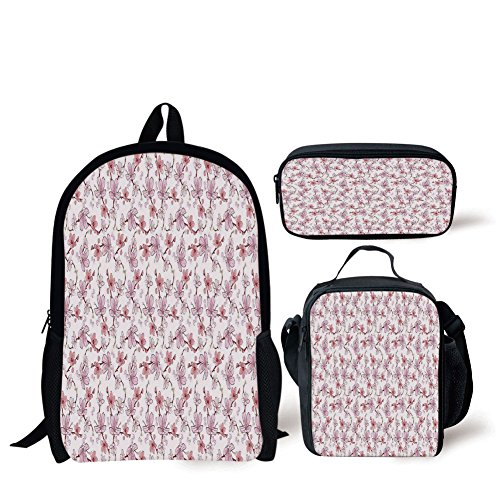 School Lunch Pen Bags,Kitchen Decor,Cherry Sakura Flowers Romantic Branch Blossom Spring Petal Rose Vibrant Colored,Pastel Pink White,Personalized Print ()