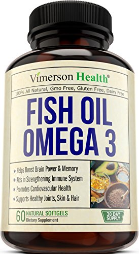 Fish Oil Omega 3 Supplement - Helps Boost Brain Power, Memory, Focus & Cognition. Promotes Cardiovascular & Immune Health. Supports Healthy Joints, Eyes & Skin. 100% All Natural Essential Fatty Acids