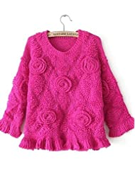 GS~LY Women's Solid Pink / Red / Beige / Purple Pullover,Simple Long Sleeve , fuchsia-one-size , fuchsia-one-size
