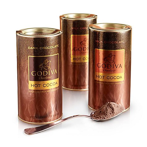 Godiva Assorted Hot Cocoa Canister, Set of 3, 10 servings each by Godiva Assorted Hot Cocoa Canister