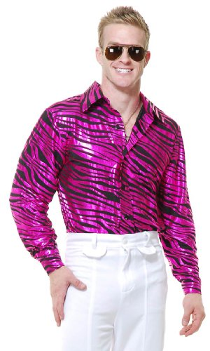- Fuchsia Zebra Print Disco Costume - Mens Medium 40-42