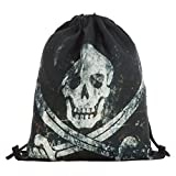 Tloowy Drawstring Backpack, Unisex Halloween 3D Skull Outdoor Gym Bag Shoulder Bag Cinch Sack Pack (B) Review