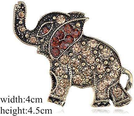 Fashion Rhinestone Crystal Alloy Flower Spider Bouquet Brooch Pin Multicolor   Style - Yellow elephant