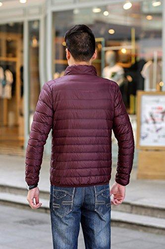 Jacket Chaud Zipper Homme D'hiver Doudoune Bordeaux Quibine Manteau Léger XqU7YwB