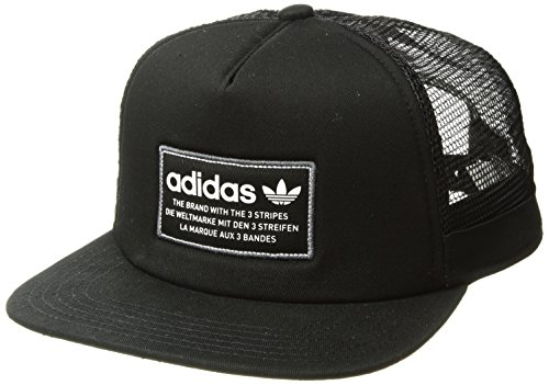 adidas Men's Originals Patch Trucker Structured Cap, Black/White/Onix, One -