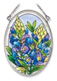 Amia Hand Painted Glass Suncatcher with Bluebonnet Design, 3-1/4-Inch by 4-1/4-Inch Oval
