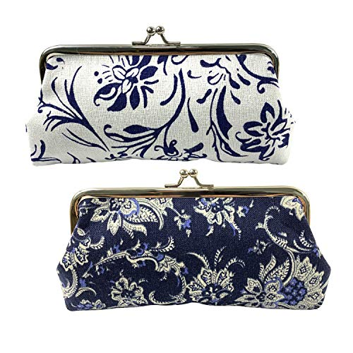 Gold Fortune 2PCS Women Girl Canvas Floral Coin Purse Clutch Pouch Wallet Value Set With Clasp Kisslock 7.4 by 3.7 Inch (Blue and White)
