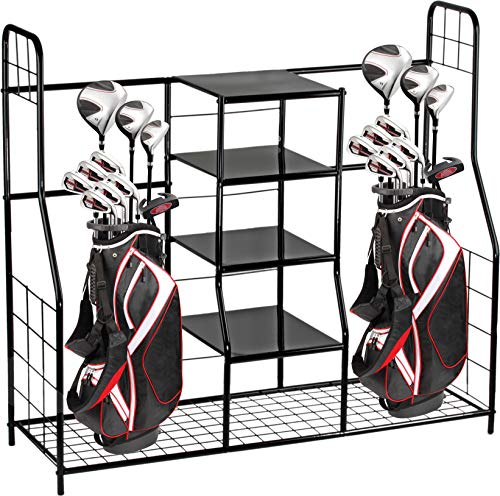 Home-it Golf Bag Sports Dual Golf Storage Organizer golf organizer rack