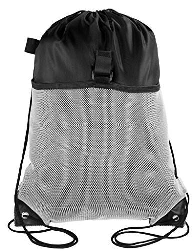 Mato & Hash Drawstring Cinch Bag Backpack With Mesh Pocket Tote Sack - 100PK Black CA2600 - 3 by Mato & Hash
