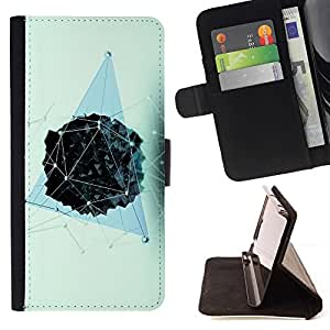 LG Magna / G4C / H525N H522Y H520N H502F H500F (G4 MINI,NOT FOR LG G4)Case , Polígono Modelo azul Vivid- la tarjeta de Crédito Slots PU Funda de cuero Monedero caso cubierta de piel