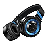 Bluetooth Headphones, Amuoc Stereo Wireless Headphones with Microphone Over-ear Foldable Portable Music Bluetooth Headsets for Cellphones Laptop Tablet TV Headphones (Black Blue)