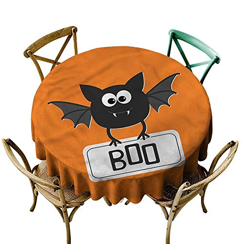 familytaste Halloween,Print Tablecloth Waterproof Cute Funny Bat with Plate D 70