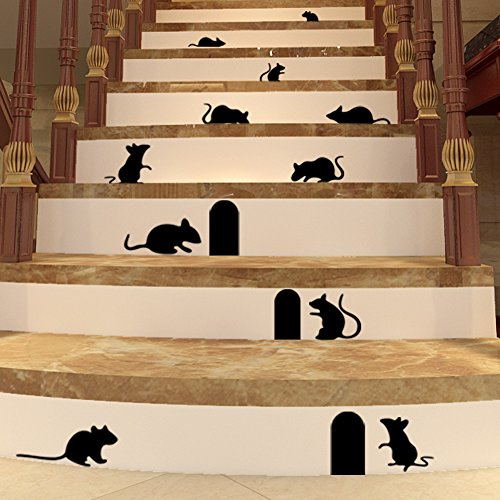 BIBITIME DIY Funny Art Graffiti Rat Hole Floor Stair Wall Stickers Art Vinyl Decal Home Decor]()