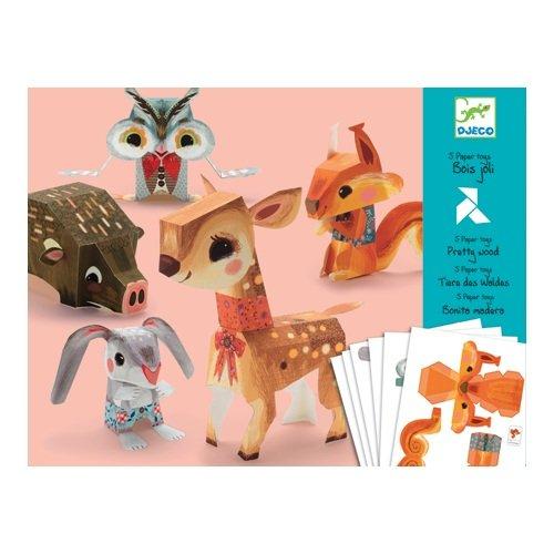 Djeco / Folded Paper Toy Kit, Pretty Woodland Animals