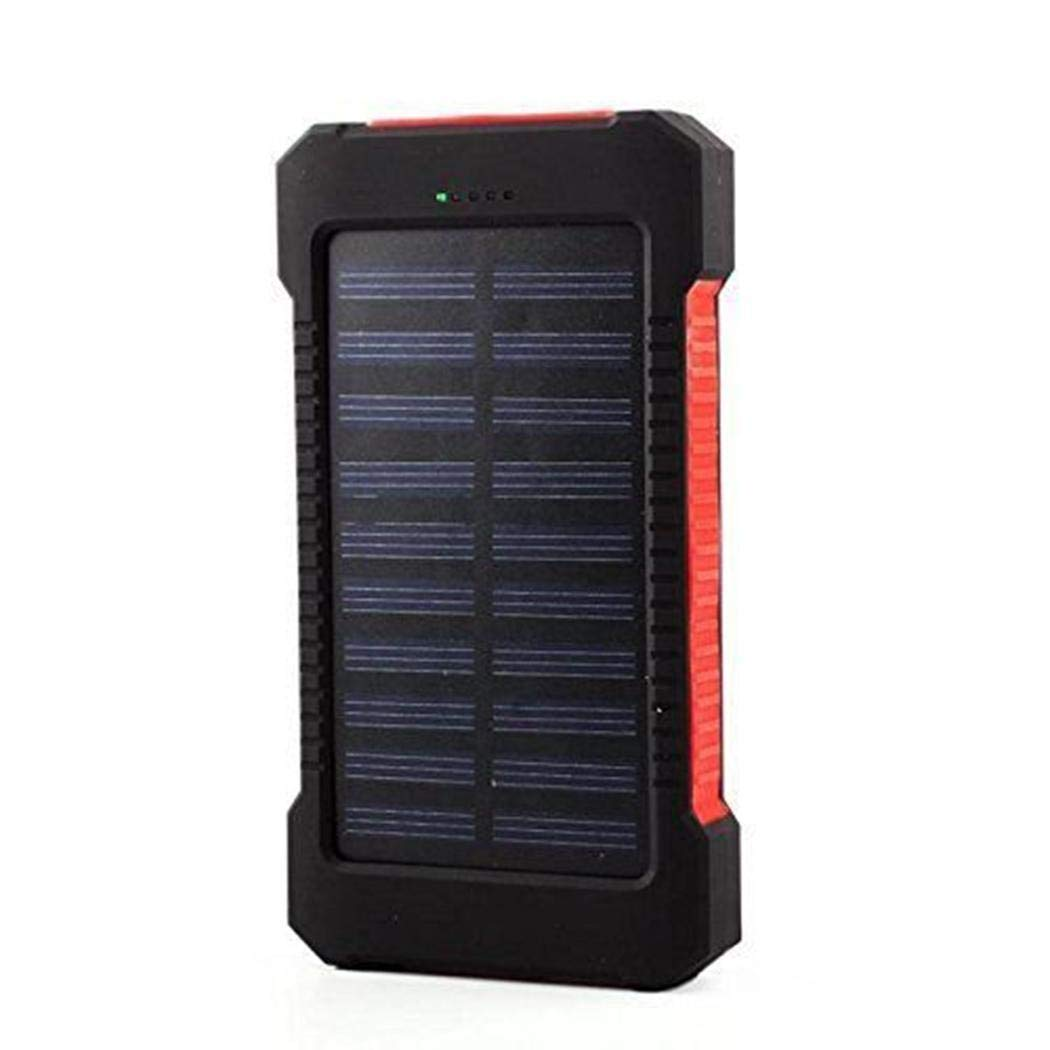 Meflying Portable Waterproof Double USB LED External Battery Solar Power Bank (6000mAh, Red)