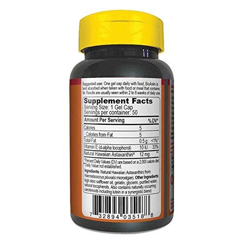 BioAstin Hawaiian Astaxanthin 12mg, 50ct - Supports Recovery from Exercise + Joint, Skin, Eye Health Naturally - 100% Hawaiian Sourced Premium Antioxidant