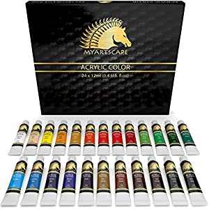 Acrylic Paint Set - 24 x 12ml Tubes - Heavy Body - Lightfast - Artist Quality Paints - MyArtscape