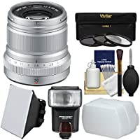 Fujifilm 50mm f/2.0 XF R WR Lens (Silver) with 3 UV/CPL/ND8 Filters + Flash + Soft Box + Diffuser + Kit