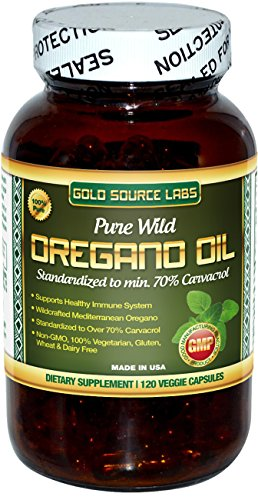100% Pure, Wild Oregano Oil - 120 Liquid Veggie Capsules - Standardized Extract with 32 mg of Carvacrol (over 70%), by Gold Source Labs
