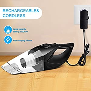 Wireless Car Vacuum Cleaner DC 12V 120W Wet Dry Auto Dustbuster Portable Handheld Auto Vacuum Cleaner for Car 4000Pa Suction Car Hoover with HEAP Filter&5Meters LED Light Car & Home Cleaner (Black)
