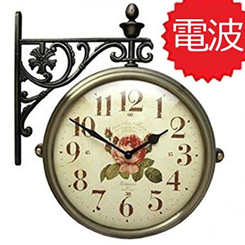 両面電波時計 両面時計 Interior Double Face Wall Clock おしゃれな インテリア 両面壁掛け時計 電波両面時計 M195-AF B072KW73NH