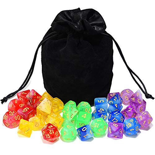 Assorted Polyhedral Translucent Drawstring Dungeons