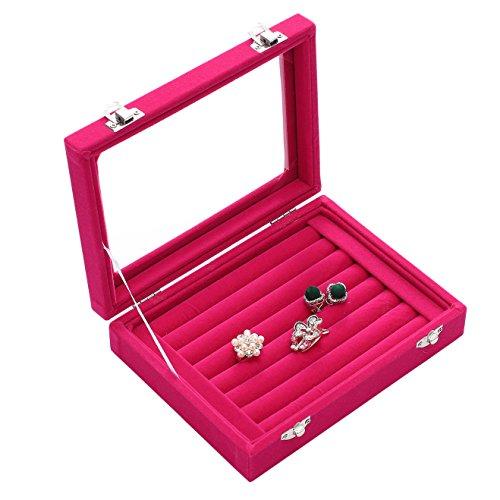 Pasutewel 7 Slots Velvet Glass Rings Earrings Jewellery Display Stand Storage Box Holder Organiser Tray Case - Pink ()