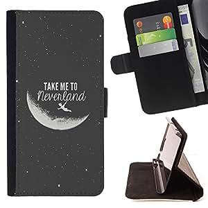 BullDog Case - FOR/Samsung Galaxy Note 3 III / - / take me to the moon grey black night cosmos /- Monedero de cuero de la PU Llevar cubierta de la caja con el ID Credit Card Slots Flip funda de cuer