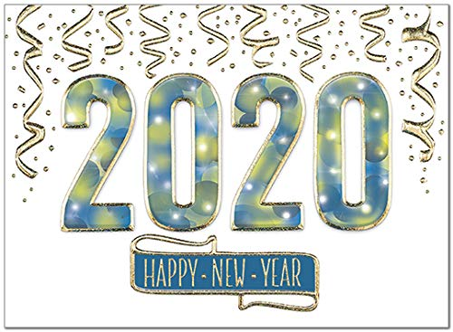 25 Premium New Year Cards - Sparkling 2020 with Gold Glitter Foil Embossing - 26 White Envelopes - Eco Friendly (Best New Year Card Wishes)