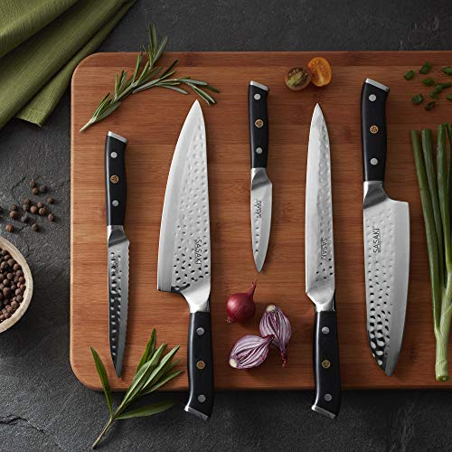 Sasaki 5228198 Takumi Japanese AUS-10 Stainless Steel Chef Knife with Locking Sheath, 8-Inch, Black