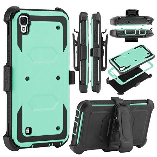 LG Tribute HD Case, LG X Style Case, Venoro Heavy Duty Shockproof Full Body Protection Rugged Hybrid Case Cover with Belt Clip Holster and Kickstand for LG X Style / Volt 3 / LS 676 (Light Green)