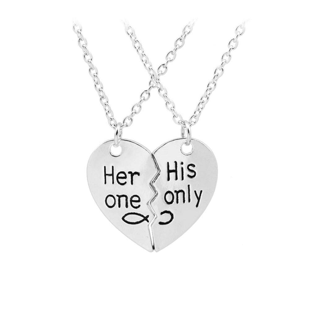 95340687cd Songlanbuy 2Pcs Couple Pendant Necklace Set - Her One His Only with 8  Puzzle Piece Necklace Set Stainless Steel Couples Jewelry Anniversary or  Wedding Gifts ...