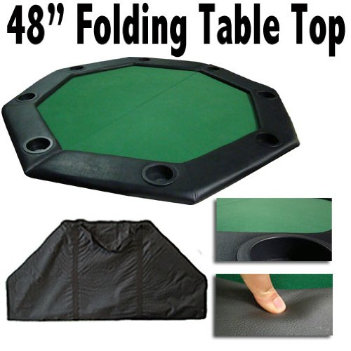 48'' Green Folding Octagon Poker Table Top w/ Cup Holders & Padded Rail by Brybelly by Brybelly