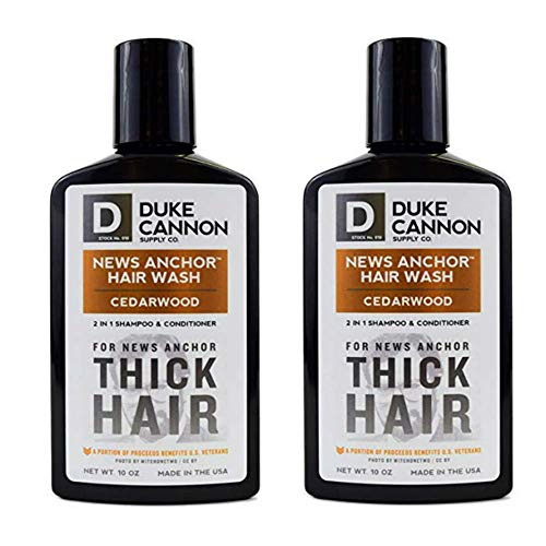 (Duke Cannon News Anchor Thick Hair Wash 2-in-1 Shampoo and Conditioner for Men, 10oz - Cedarwood (2 Pack))