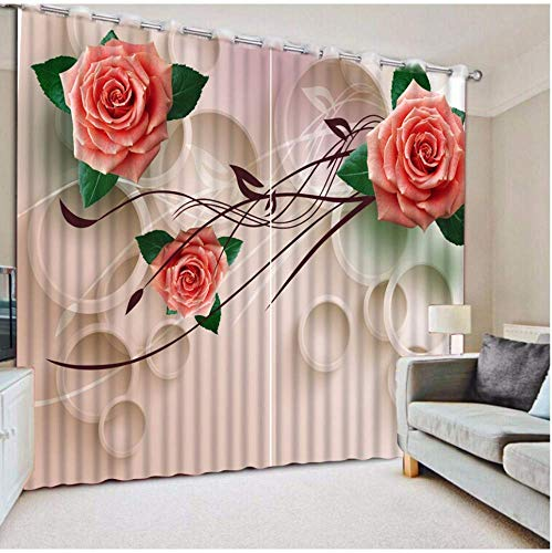 ATR Modern Curtains Print Curtains for Living Room Bedroom 3D Draped Cortinas for Window Rose Theam Drapes, 245X280CM -