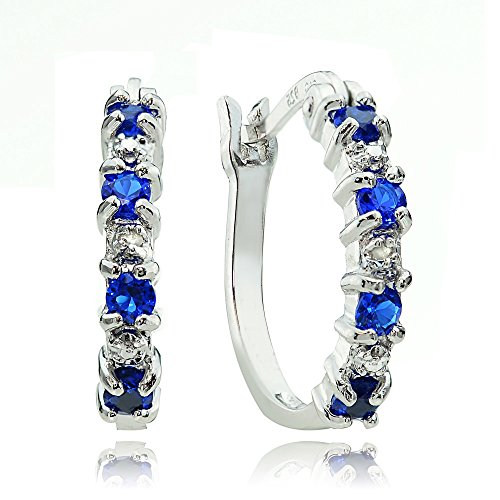Sterling Silver Created Blue Sapphire Hoop Earrings