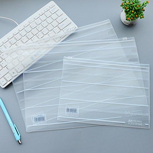 Frosted Plastic Envelopes (Grekywin 4 pcs Stripes Clear Frosted Plastic Zipper Envelopes Document Storage Pouch Filing Bag Zip Folder(2pcs A4, 2pcs A5))