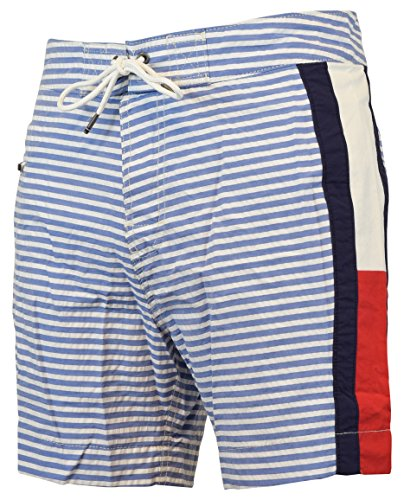 Tommy Hilfiger Men's Striped Foothill Board Shorts (XX-Large, Blue/White)