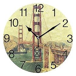 senya Old Film Retro Style Golden Gate Bridge in San Fra Round Wall Clock, Silent Non Ticking Oil Painting Decorative for Home Office School Clock Art