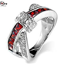 Slyq Jewelry 6 Colors Crossed Ruby Women Finger Ring White Gold Filled Jewelry Engagement Vintage Wedding Ring
