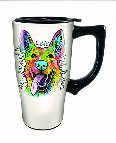 Spoontiques Dean Russo German Shepherd Travel Mug, Off-White