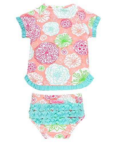 7c0fd92b08cef RuffleButts Little Girls UPF 50+ 2-Piece Short Sleeve Rash Guard Bikini w/