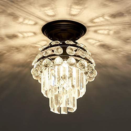 Black Crystal Flush Mount Chandelier Modern Ceiling Light Fixtures Farmhouse Lighting