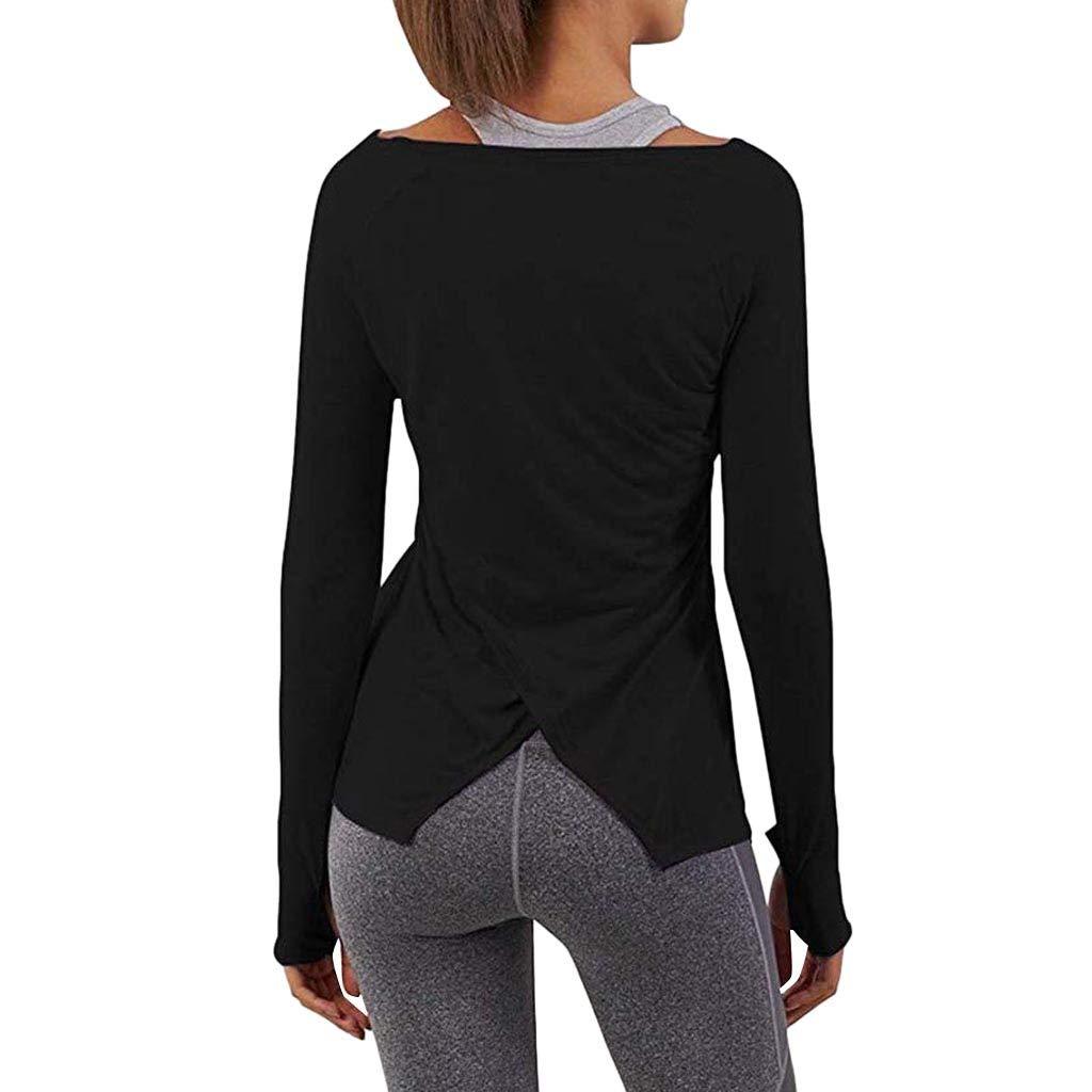 Ansenesna Shirt Damen Langarm Workout Yoga Elegant Oberteile Frauen Locker Freizeit Einfarbig Tops