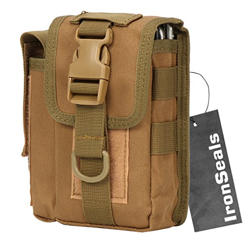 IronSeals 1000D Nylon Smartphone Holster Outdoor Tool Waist Pouch Case with Belt Loop & Belt Latch for Accessories & Smartphones and Flashlight - Coyote Brown