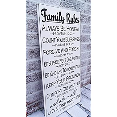 Scripture family rules sign, large family rules sign, Bible verse family rules sign, large 12x24