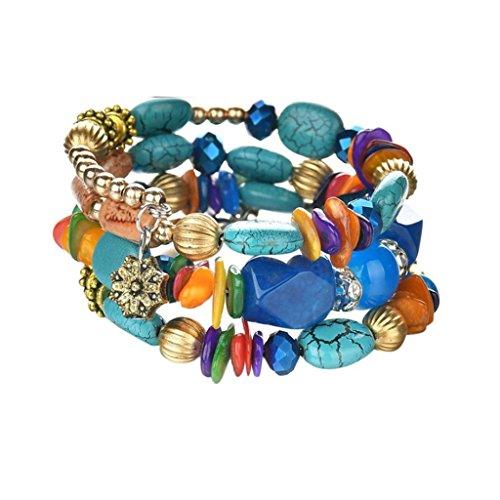 Creazrise Clearance! Women Multilayer Color Mixed Stone Bracelet Fashion Elastic Beads Bracelets (Multicolor)