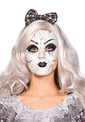 Leg Avenue Women's Doll Mask Costume Accessory, White, One Size