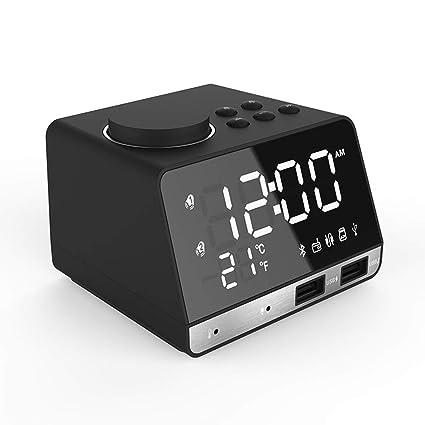 SHKY Radio Reloj, Reloj Despertador Digital LED con Cargador USB ...