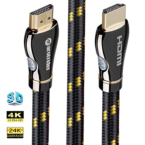 10' Hdmi Gold Video Cable - 4K HDMI Cable/HDMI Cord 10ft - Ultra HD 4K Ready HDMI 2.0 (4K@60Hz 4:4:4) - High Speed 18Gbps - 28AWG Braided Cord-Ethernet/3D/HDR/ARC/CEC/HDCP 2.2/CL3 - Xbox PS4 PC HDTV by Farstrider